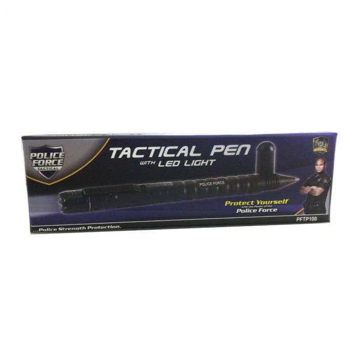 9 Units Police Force Tactical Pen w/ Light & DNA Collector