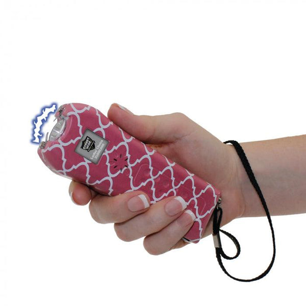 Bulk wholesale pricing for the Streetwise pink and white Ladies Choice stun gun for self defense protection.