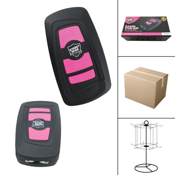 Bulk wholesale discount pricing for the Streetwise Security black and pink colored Razor stun gun.