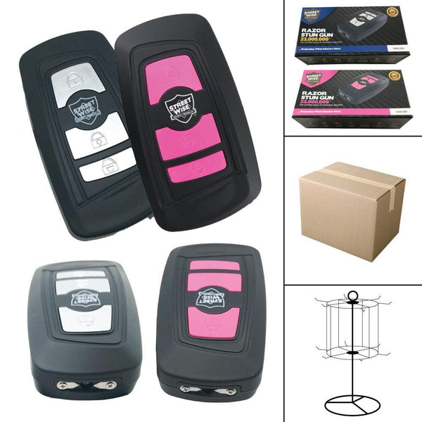 Bulk wholesale discount pricing for both colors black and gran and black and pink Razor stun guns.