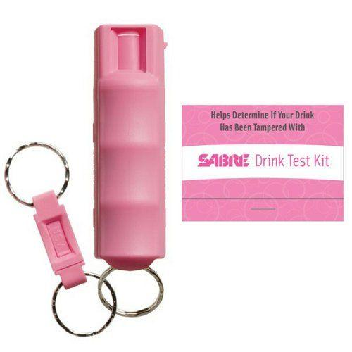 Bulk wholesale discount pricing for the Sabre pink headcase pepper sprays with drug testing strips.