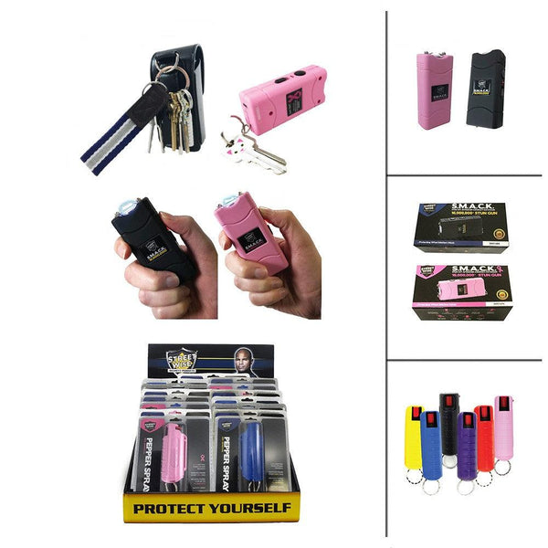 24 Units Smack Stun Guns and Key-Chain Pepper Spray Bundle