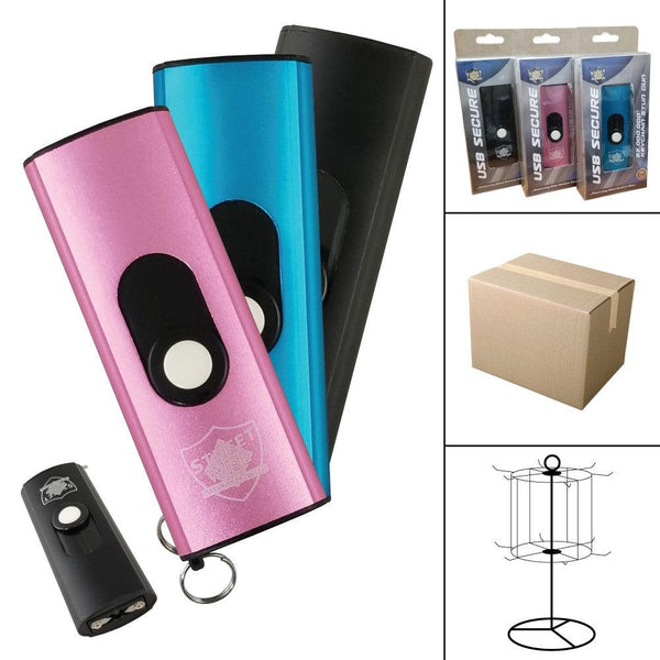 Bulk wholesale discount pricing for Streetwise Security USB mini stun guns with key-chain.