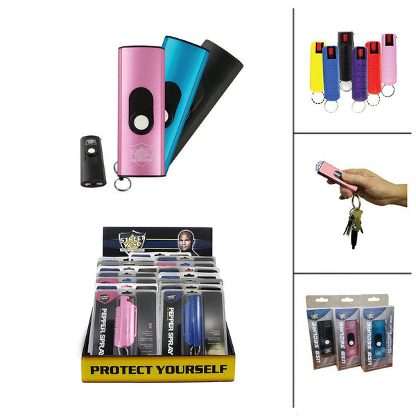 24 Units USB Stun Guns and Key-Chain Pepper Spray Bundled
