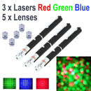 Three laser pointer bundle with colors green, blue and red for one low on-line price.