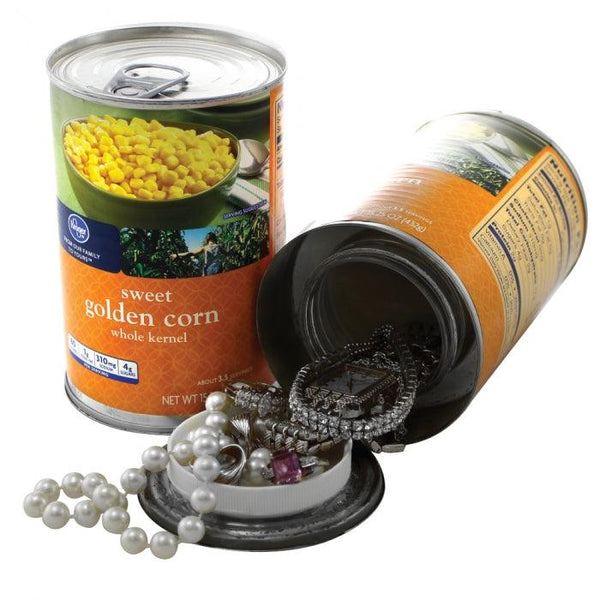 Can of corn diversion safe with hidden compartment you can safely hide valuables inside the secret compartment.