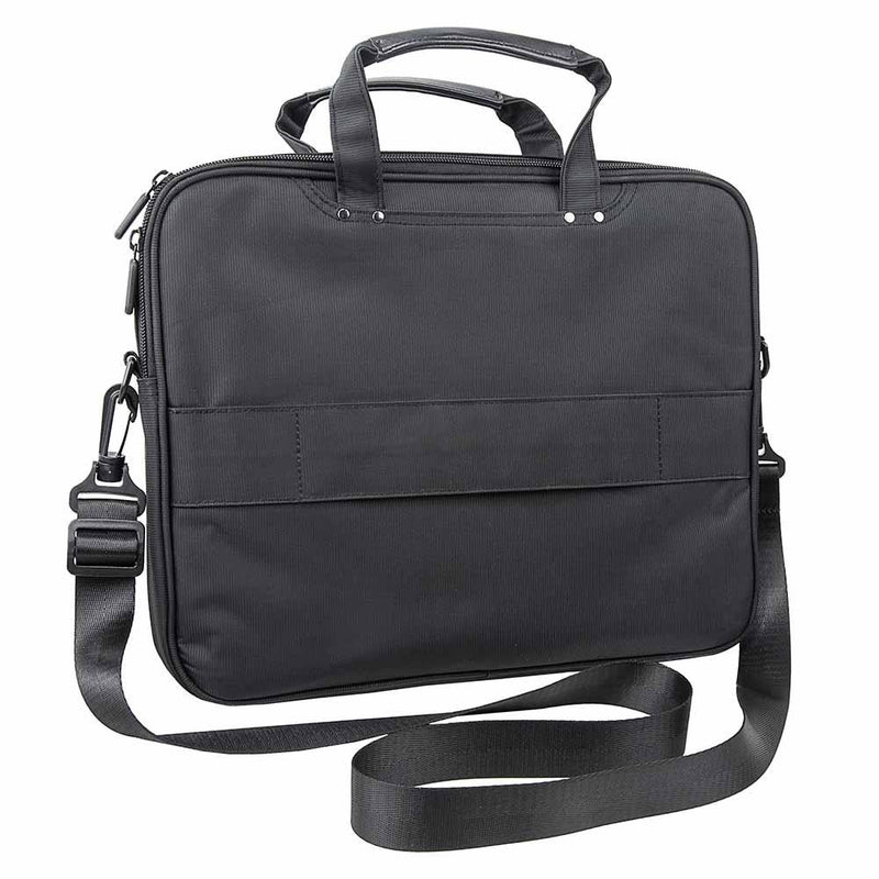 View of the backside of the Vism brand CCW color black laptop briefcase with ballistic panel.
