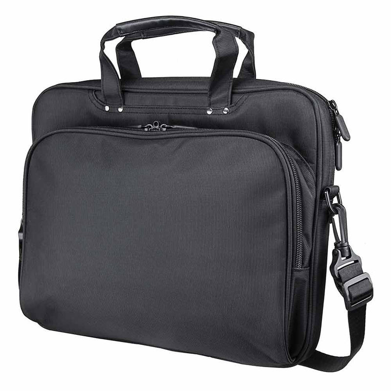 Front view of the Vism brand CCW color black laptop briefcase with ballistic panel.