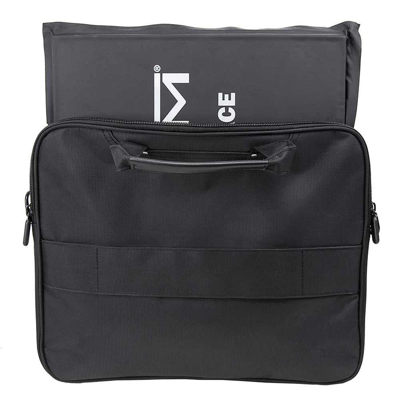The Vism brand CCW color black laptop briefcase with ballistic panel and how the panel is inserted into the carry case.