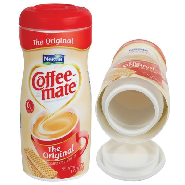 Coffee Mate can with hidden compartment to safely hide valuables inside.
