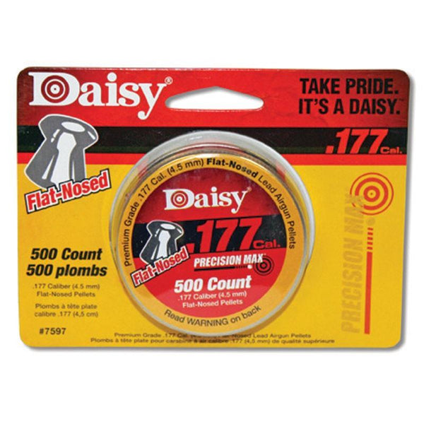 Daisy brand precision max 500 count flat nose pellets .177 caliber.
