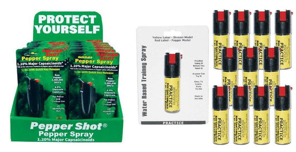 Bulk wholesale pepper spray and practice inert sprays with sales counter display.
