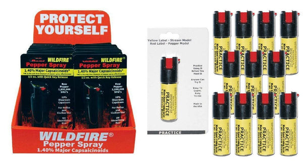Wholesale pricing wildfire pepper sprays with practice inert spray bundle package.