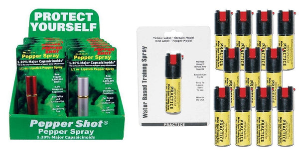 Wholesale pricing lipstick pepper spray with inert practice sprays and sales display.