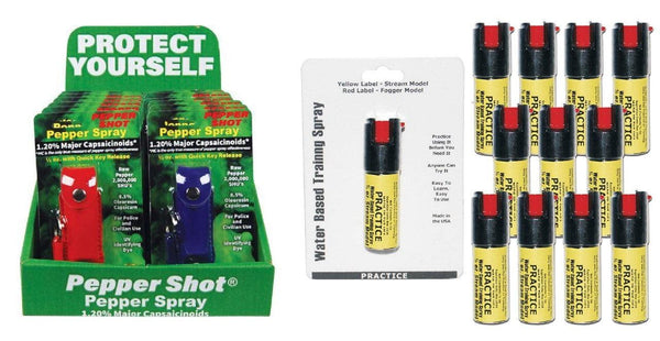 Safety Technology pepper shot pepper sprays with practice inert sprays bundle.