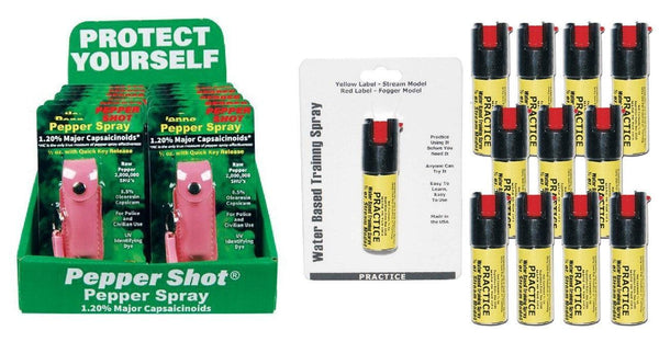 Pink pepper shot pepper spray with practice inert sprays bundle package.