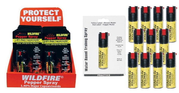 Wildfire pepper spray with belt clip and inert practice spray bundle package for self defense protection.
