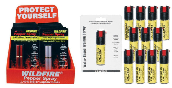 Wildfire lipstick pepper spray with practice inert sprays sold on line as a bundle package.