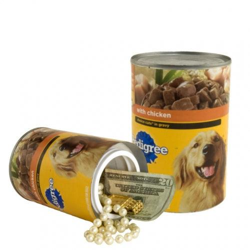 Dog food can with hidden compartment to safely hide valuables inside.