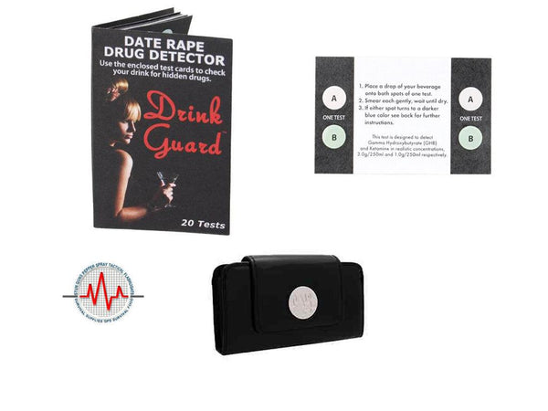 Drink Guard Test Strips with Black Purse Wallet