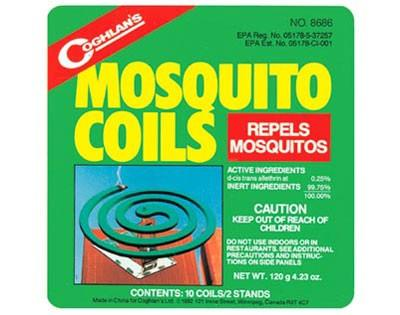 Mosquito coils are burned to release active ingredient in the smoke to both repel and kill mosquito's.