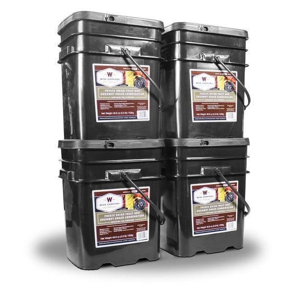 480 Serving Wise Fruit Bucket packed in lock-in stacking buckets for compact and secure storage and sealed in Mylar pouches 25 year shelf life.