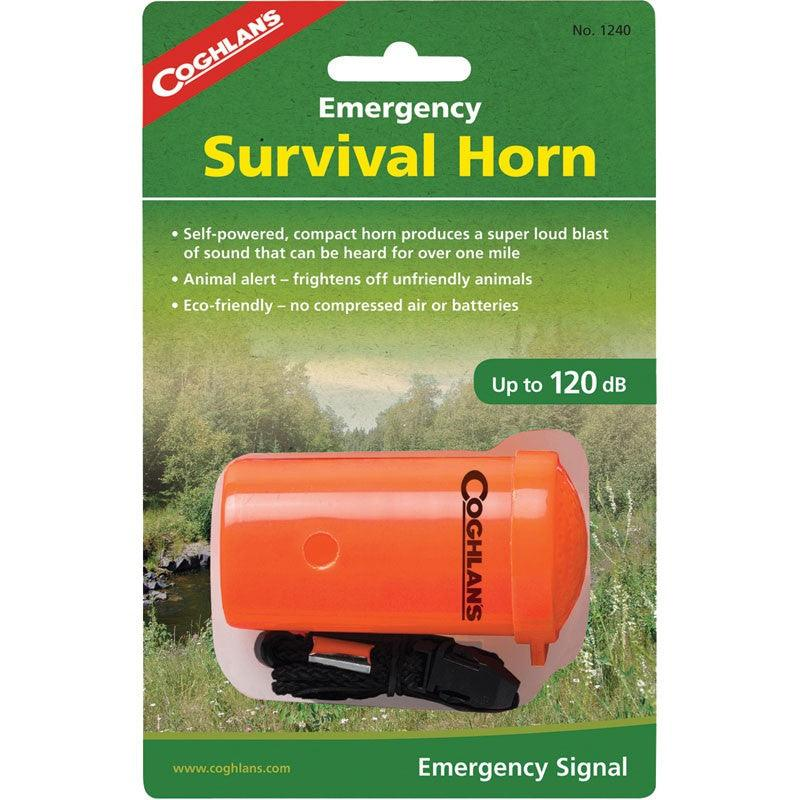 The Coghlan's Emergency Survival Horn is very loud operates with the simplicity of a mouth horn and blasts out audible sound up to 120dB.