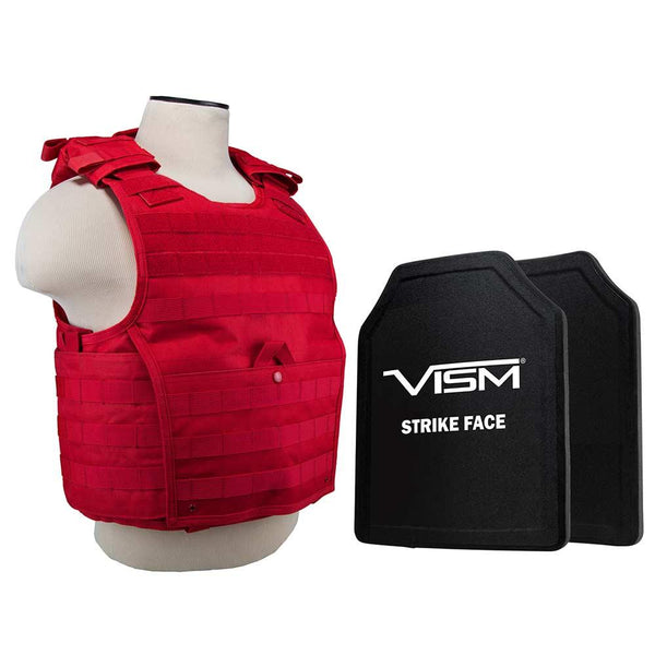 "Vism expert plate carrier red vest with 11""X14' level 3 A ballistic protection for women and men."
