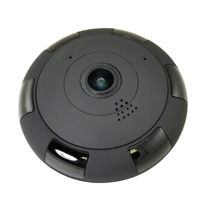 Eye In The Sky 360 Degree WiFi Camera with night vision allows you to see the entire room in HD video quality on your smart phone.