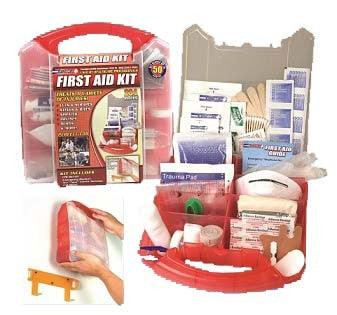 This comprehensive 234 piece first aid kit is packaged in a red plastic case that comes with a detachable wall mount, which allows you to put it in a convenient location for easy access in a time of need.