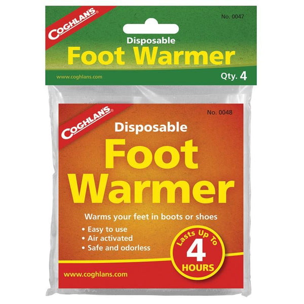 Disposable foot warmers warms feet in shoes or boots for up to 4 hours.