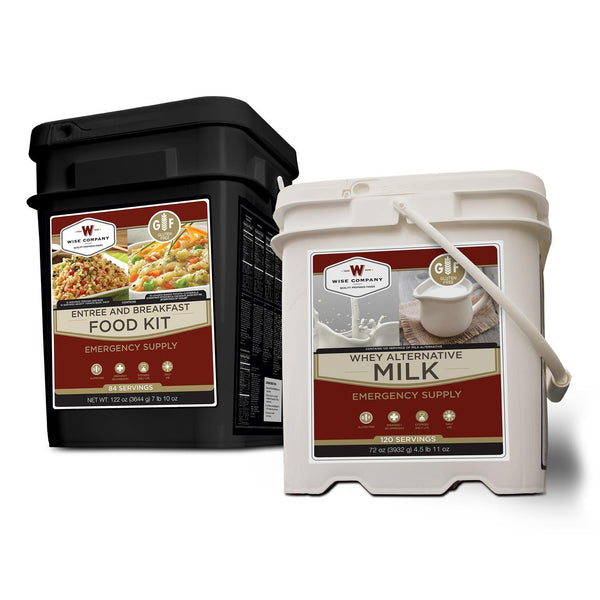 Emergency preparedness 84 servings gluten-free survival food bucket with milk bucket too.
