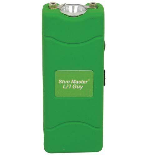Green color mini stun gun with powerful electrodes offers effective self defense protection.