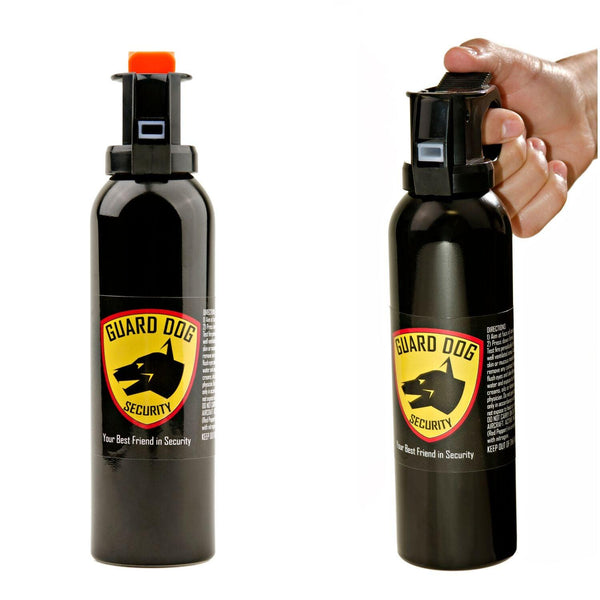 Powerful hot pepper spray delivered using handle bottles with UV dye inside.