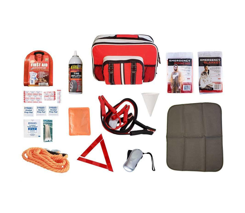 Auto emergency preparedness survival kit never be stranded without these essential items in the trunk of your car.
