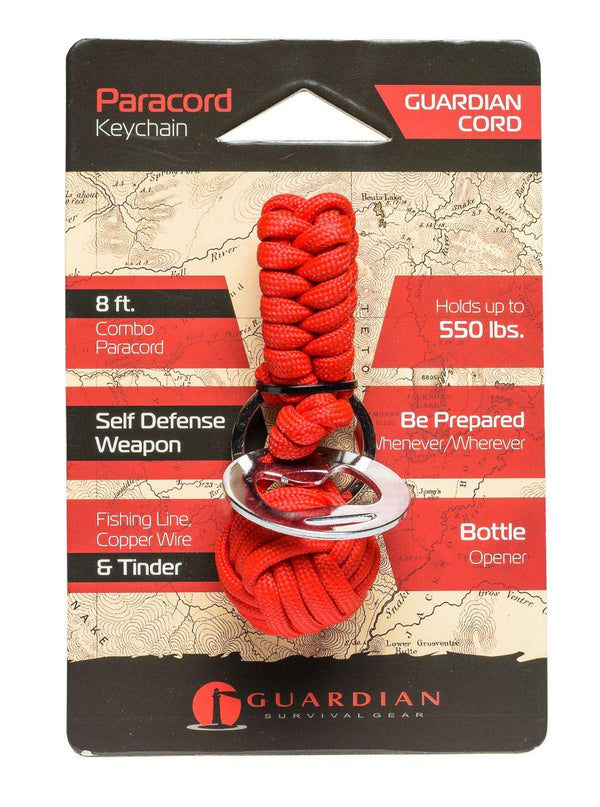 Guardian Cord Paracord Key-chain is made of 8 Feet of 550lb-rated paracord, is great for everyday use or self defense protection if needed.
