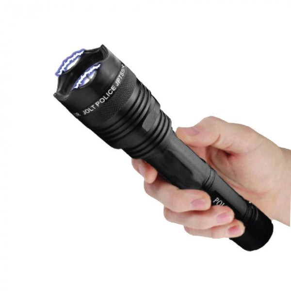 Powerful stun gun flashlight with 95 million volts of stooping power.