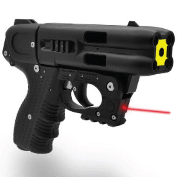 The FIRESTORM JPX 4 shot pepper gun with red laser light for law enforcement and civilian use.