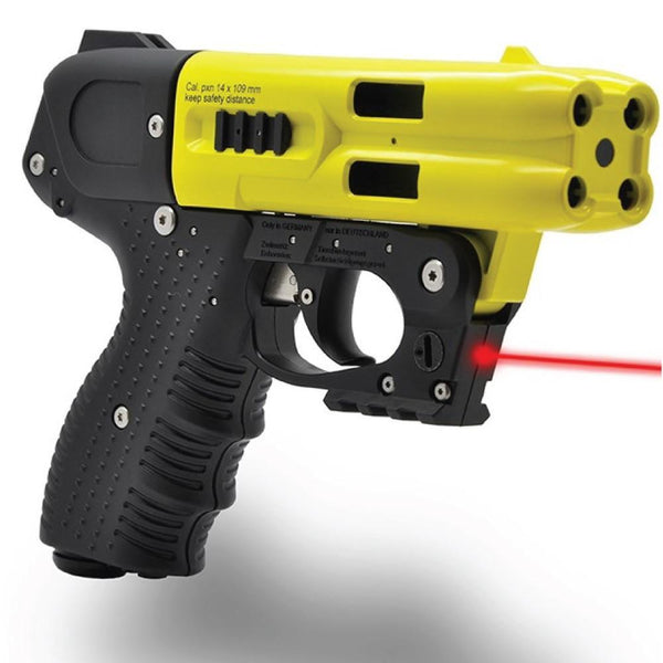 The Firestorm yellow pepper gun with laser light effective self defense protection for women and men.