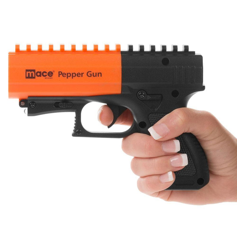 Mace pepper gun delivery system contains 7 bursts and sprays at a range of up to 20 feet.