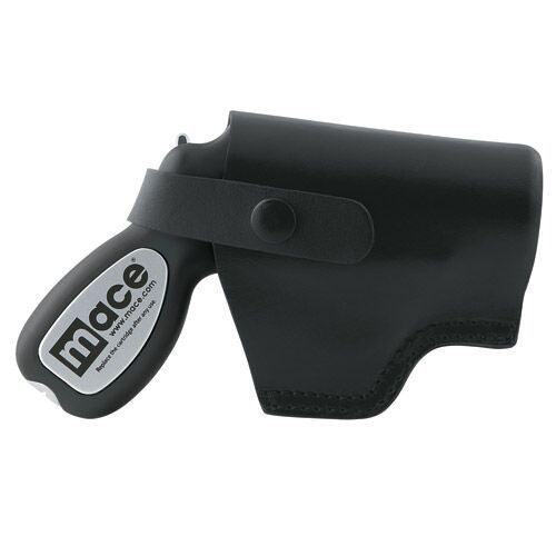 Mace black color pepper gun holsters with secure strap for safety.