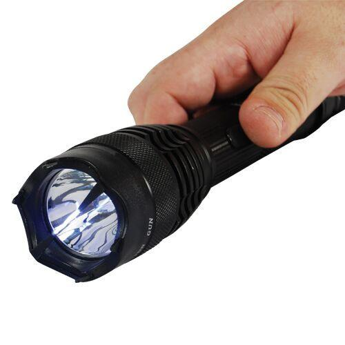 Mini Badass stun gun with bright powerful flashlight for personal protection.