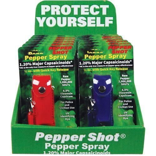 Wholesale bulk pepper spray with sales counter displays.