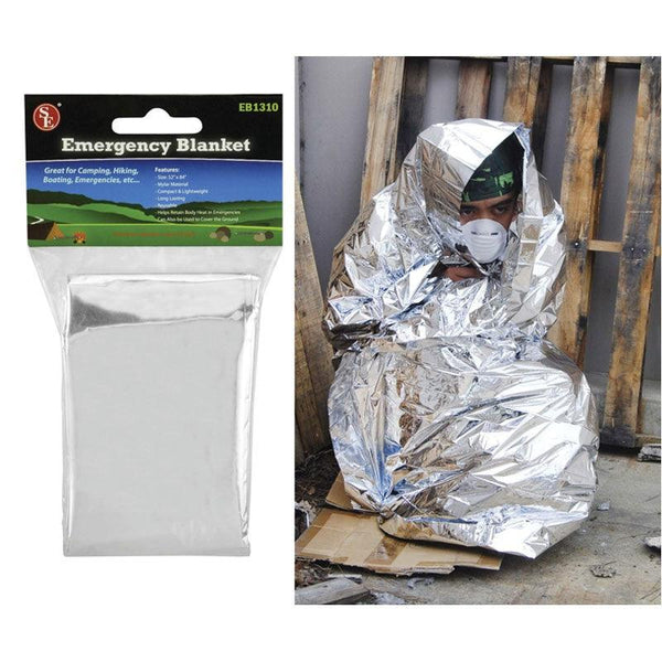 Emergency Mylar Blanket keeps the cold wind off and reflects your body heat back to you.