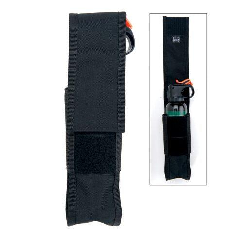 Bear spray holster with belt loop to safely carry personal protection when outdoors hunting, camping or hiking.