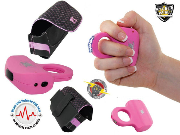 Sold on-line pink sting ring stun gun with pink and black body-glove holster for women self defense protection.