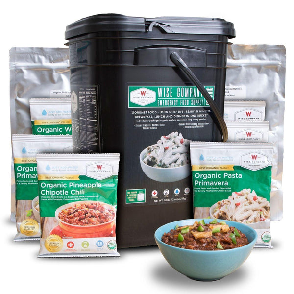 90 serving Organic Emergency Freeze Dried Food Bucket. 60 servings of organic entrées, 30 servings of organic breakfasts shelf life of up to 25 years.