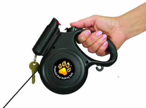 Dog leash with attached pepper spray for self defense against dog attacks when outdoors walking your pet.