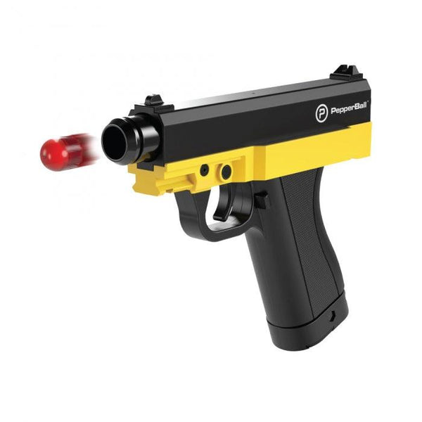 Pepper ball gun with long range projectiles.