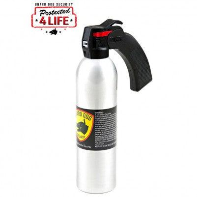 Pistol grip handle pepper sprays with firing range up to 45 feet away.
